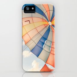 Colored parachute kite in the sky iPhone Case