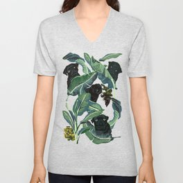 Banana Leaf and Black Pug Unisex V-Neck