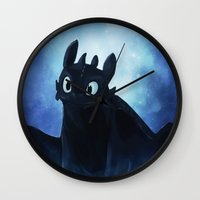toothless Wall Clocks featuring Toothless by Liancary