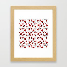 Red Ladybug Floral Pattern Framed Art Print