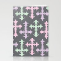 pastel goth Stationery Cards featuring Pastel Goth | Grey by Glitterati Grunge