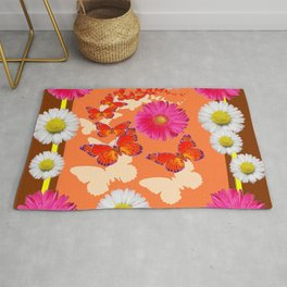Chocolate Brown Fuchsia Pink Daisies Butterfly Art Rug