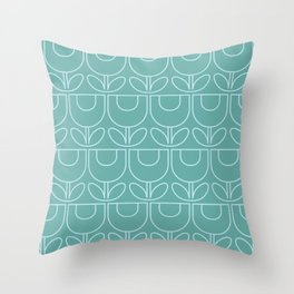 MCM Tulip Aqua Throw Pillow