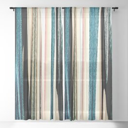 blue turquoise black grey beige pink abstract striped pattern Sheer Curtain
