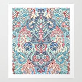 Botanical Geometry - nature pattern in red, blue & cream Art Print