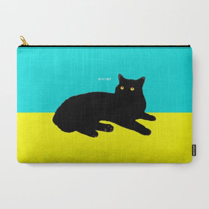 Black Cat on Yellow and Sky Blue Carry-All Pouch
