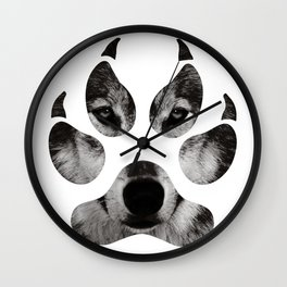 Wolf's Paw Black and White Wall Clock