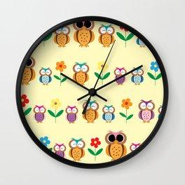sweet owls patterns Wall Clock