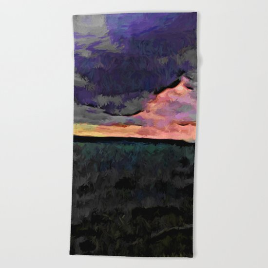 Pink Sky with Lavender Clouds and the Dark Sea Beach Towel