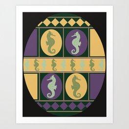Seahorse Parade Art Print