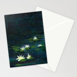 Water Lilies at Night Stationery Cards