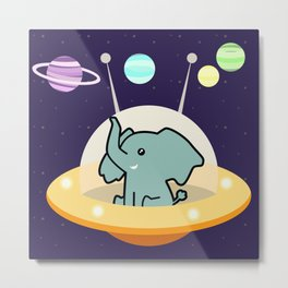 Astronaut elephant: Galaxy mission Metal Print