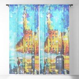 Tardis Art Starry Street Night Sheer Curtain