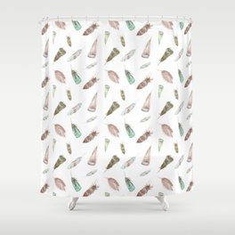 Feather collection in nature colors Shower Curtain