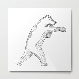 Grizzly Bear Boxing Doodle Art Metal Print