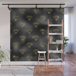 Glam Black and Gold Jewel Pattern Wall Mural
