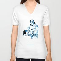 neil gaiman V-neck T-shirts featuring Neil Armstrong Tribute by Largetosti