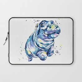 Hippo Colorful Watercolor Hippo Painting - Grace Laptop Sleeve