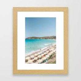Vulisma Beach Crete, Greece   Travel Photography Print Light Colors Framed Art Print