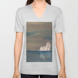 Floating Feather. Original Painting by Jodilynpaintings. Abstract Feather on Water. Unisex V-Neck