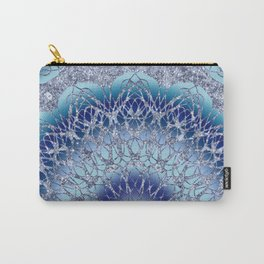 Frosted Lotus Mandala Blue Carry-All Pouch