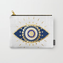 evil eye times 3 navy on white Carry-All Pouch