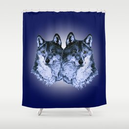 Season of the Wolf - Duet in Sapphire Shower Curtain