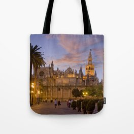 Seville, The Cathedral at dusk Tote Bag