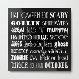 Halloween Typography Black Metal Print