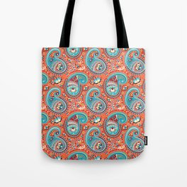 Paisley Pattern Renaissance Teal Orange Tote Bag