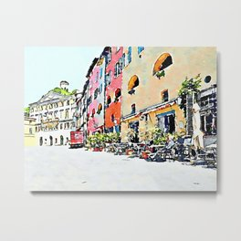 Brisighella: glimpse of the buildings with truck Metal Print