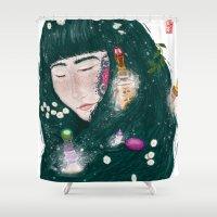 perfume Shower Curtains featuring Hair Perfume by Luna Kirsche