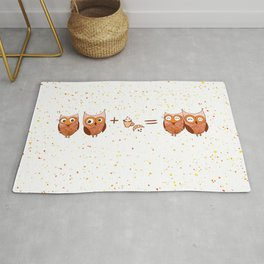 Cute owls with coffee and croissant Rug