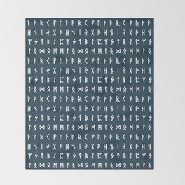 Nordic Runes // Regal Blue Throw Blanket