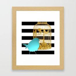 Bird Silhouette & Golden Cage Framed Art Print