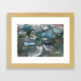 Ocean Hue Sea Glass Assortment Framed Art Print