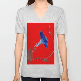 Red Color Blue Morning Glory Art Design Pattern Unisex V-Neck