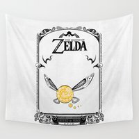 the legend of zelda Wall Tapestries featuring Zelda legend - Navi by Art & Be