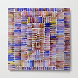 Watercolor abstract rectangles - pink and purple Metal Print