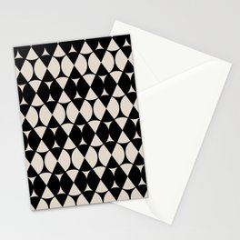 Classic Wheel and Diamond Futurist Pattern 212 Black and Linen Stationery Cards