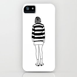 Hipster Girl Striped Shirt Illustration iPhone Case