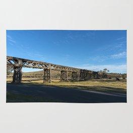 old railway bridge crossing Murrumbidgee River Gundagai New South Wales. Rug