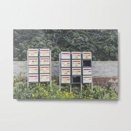 Street photography mailboxes / fine art print / Madeire wanderlust Metal Print