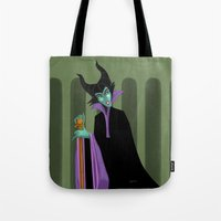maleficent Tote Bags featuring Maleficent by DROIDMONKEY