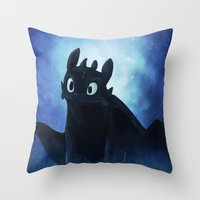 toothless Throw Pillows featuring Toothless by Liancary