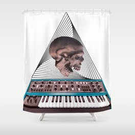 Skull Synthesizer Shower Curtain