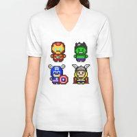 superhero V-neck T-shirts featuring Superhero Gathering by Daizy Jain
