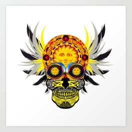Winged sun skull Art Print