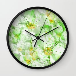 Light Floral Collage Wall Clock