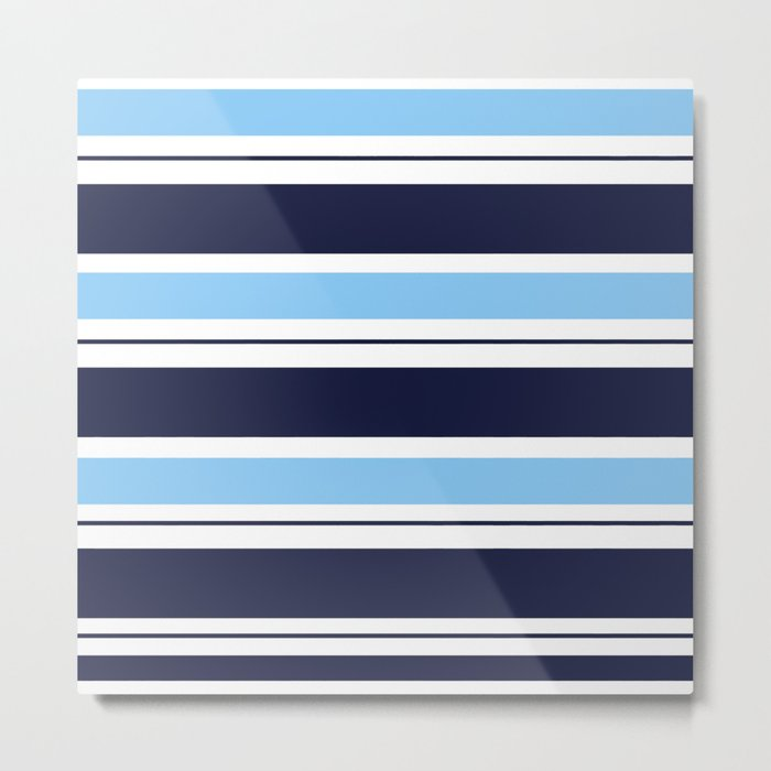 Blue Navy and Turquoise Stripes Metal Print